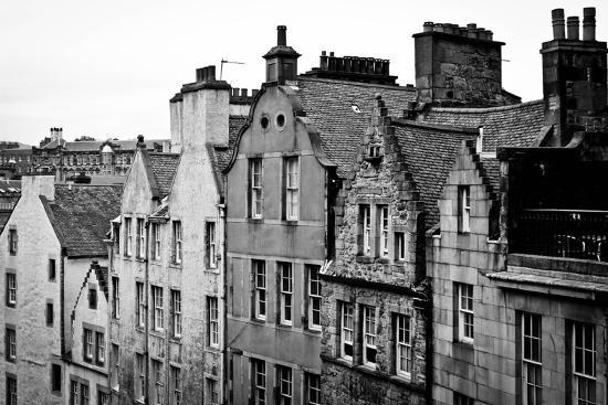 Side View of Old Houses in Edinburgh, Scotland, Uk  Black and White
