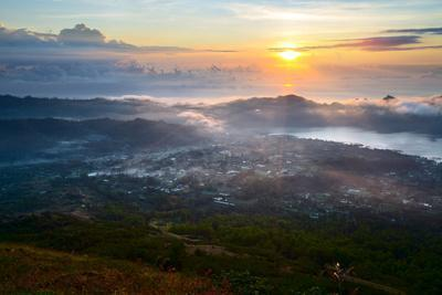 Sunrise over the Valley with Villages and Lake Situated in Caldera of Old Giant Volcano. Bali, Indo