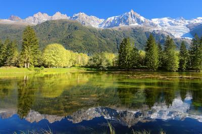 Gorgeous Reflection in the Smooth Water of the Lake in the Park.  Snowy Mountains and Evergreen For