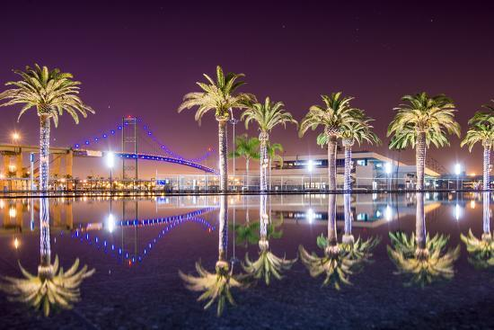 Vincent Thomas Bridge And Palm Tree Reflections In San
