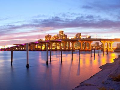 City of Miami Florida Summer Sunset Panorama