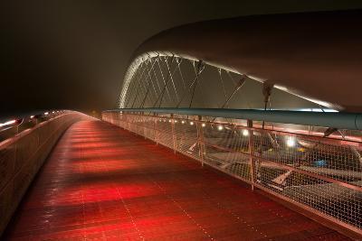 Modern Footbridge Bernatka during Sundown in Krakow, Poland, Europe