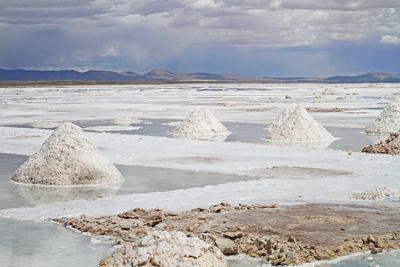 View of the Amazing Salar De Uyuni Salt Flats in Bolivia.