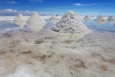 Piles of Salt on the Surface of the Salar De Uyuni Salt Lake, Bolivia