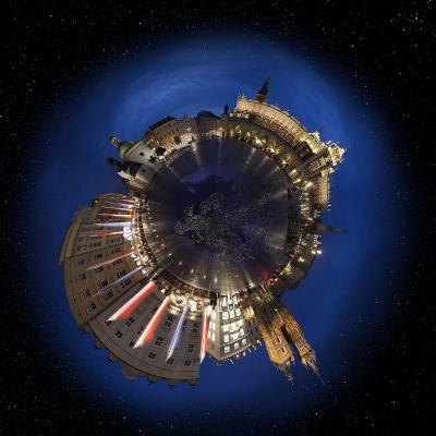 Krakow Old Town Main Market Square at Night, 360 Degree Miniplanet (Elements of This Image Furnishe