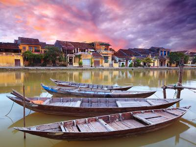 View on the Old Town of Hoi an from the River. Boats in the Foreground.