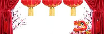Chinese New Year Decoration--Red Satin Curtain,Plum Blossom,Dancing Dragon and Red Lantern with Cop