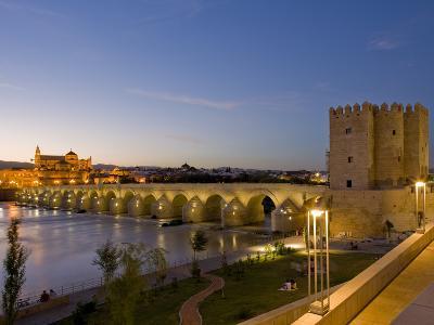 Roman Bridge with Calahorra Tower at Night, Cordoba, Andalusia, Spain