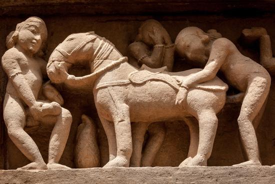Famous Erotic Stone Carving Bas Relieves Lakshmana Temple Khajuraho India Unesco World Heritage
