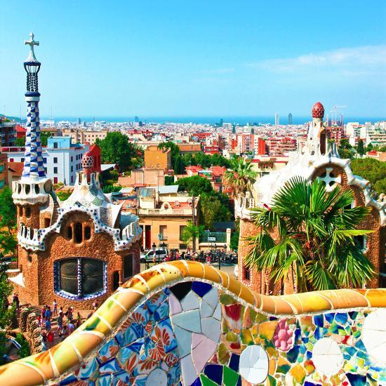 barcelona spain july 19 ceramic mosaic park guell on july 19