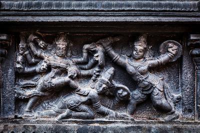 Bas Relief Depicting Durga Slaying Demon (Maheeshasuramardini). Brihadishwara Temple. Tanjore (Than
