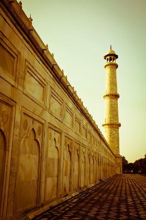 Beautiful Minaret during Sunrise at Taj Mahal in Agra, India