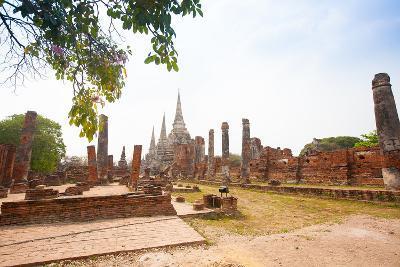 View of Wat Phra Si Sanphet in Ayutthaya Thailand