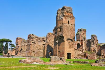 A View of the Remains of the Baths of Caracalla in Rome, Italy