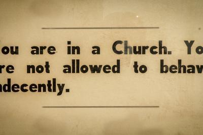 Vintage Church Rules Sign