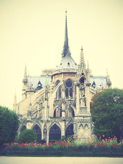 Back Side of Notre Dame De Paris, France  Instagram Style Filtred Image