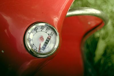 Vintage Red Moped Odometer Detail