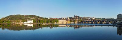 Panorama View of Charles Bridge over Vltava River and Gradchany (Prague Castle) and St. Vitus Cathe