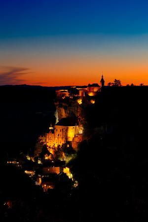 The Rocamadour Village in France with Famous Monastery at Night