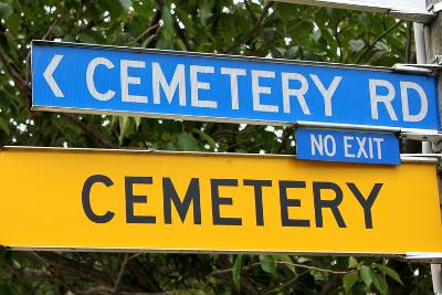 Funny Road Sign Hinting at Mortality