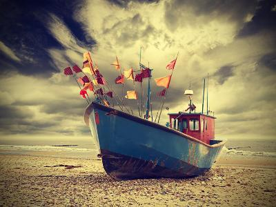 Small Fishing Boat on Shore of the Baltic Sea, Vintage Retro Instagram Style.
