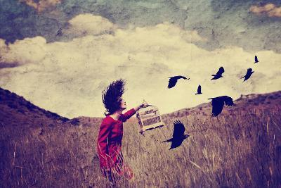 A Girl Walking in a Field with a Flock of Birds Done with a Vintage Retro Instagram Filter
