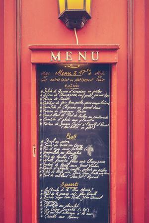 Retro Paris Restaurant Menu
