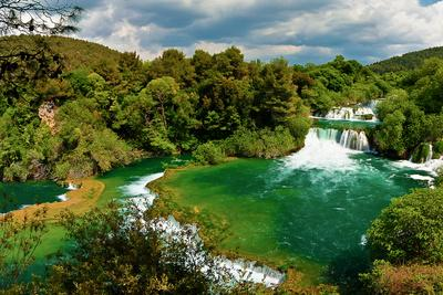 Panorama of Waterfalls in Krka National Park, Croatia