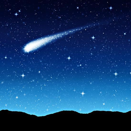 Starry Sky at Night with Comet or Shooting Star ...