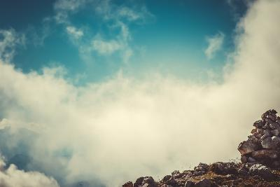 Sky Clouds on Mountain Summit with Stones Hiking Route Mysterious Foggy Scenery Background Aerial V