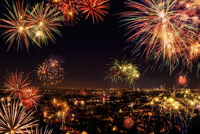 Whole City Celebrating with Fireworks