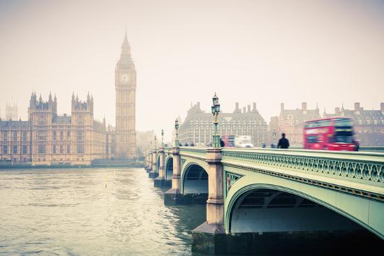 Big Ben and Westminster Bridge at Foogy Morning in London