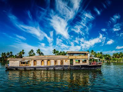 Kerala India Travel Background - Houseboat on Kerala Backwaters. Kerala, India