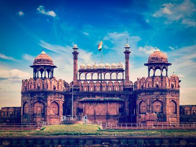 Vintage Retro Hipster Style Travel Image of India Travel Tourism Background - Red Fort (Lal Qila) D