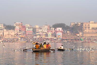 Hindu Pilgrims on Boat in the Ganges River, Varanasi, India
