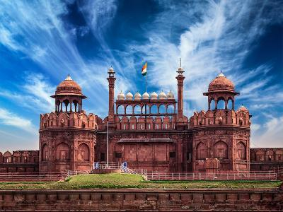 India Travel Tourism Background - \Red Fort (Lal Qila) Delhi - World Heritage Site. Delhi, India