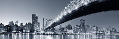 Queensboro Bridge over New York City East River Black and White at Night with River Reflections And