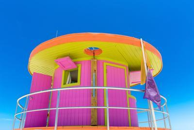 Pink Lifeguard House in Typical Architecture during Summer Day in Miami Beach, Florida, USA