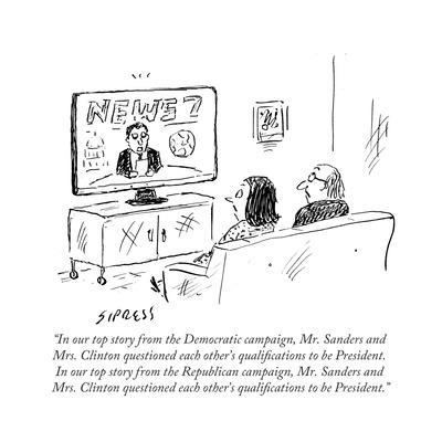 """In our top story from the Democratic campaign, Mr. Sanders and Mrs. ClintÉ"" - Cartoon"