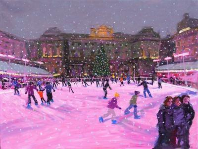 Christmas Skating,Somerset House with Pink Lights, 2014