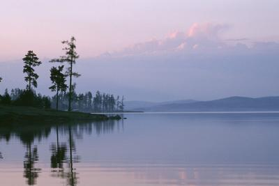 Russia Lake in Ural Mountains Autumn Evening