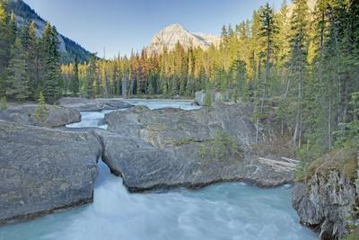 Natural Bridge on Kicking Horse River with Mount Steven