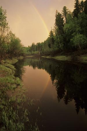 Rainbow after Evening Rain over River Negustyah