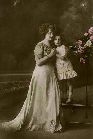 Woman and Little Girl in Studio