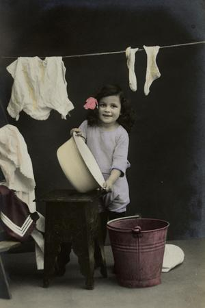 Little Girl on a Postcard, Hanging Up the Washing