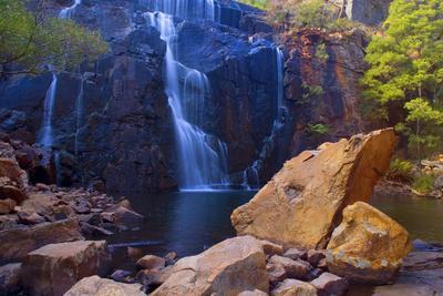 Mac Kenzie Falls Water Cascades Down Red Cliffs