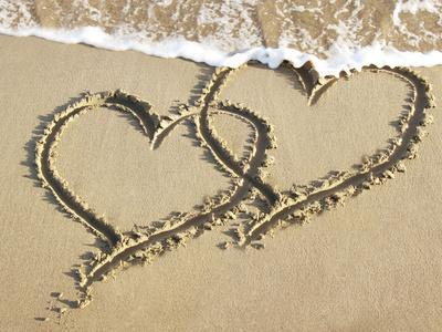 Heart Two Drawn into Sand with Surf