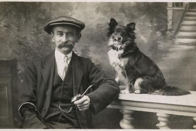 Man with Pet Dog in Studio Photo