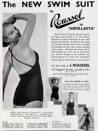 Advert for J. Roussel Swim Suits for Men and Women 1935