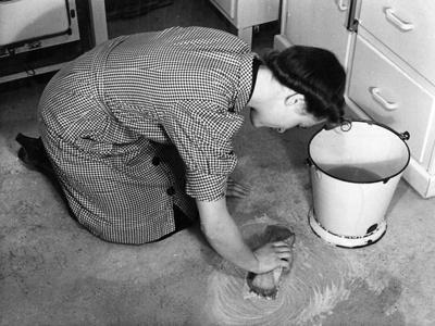 Scrubbing Kitchen Floor